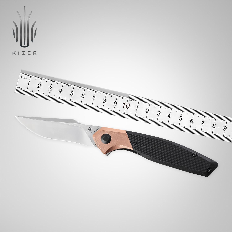Карманный нож Kizer V4572N1 / V4572N2 благодаioso 2021 новый черный G10 и медный или зеленый Микарта и латунная ручка складной нож нож buck hood punk микарта