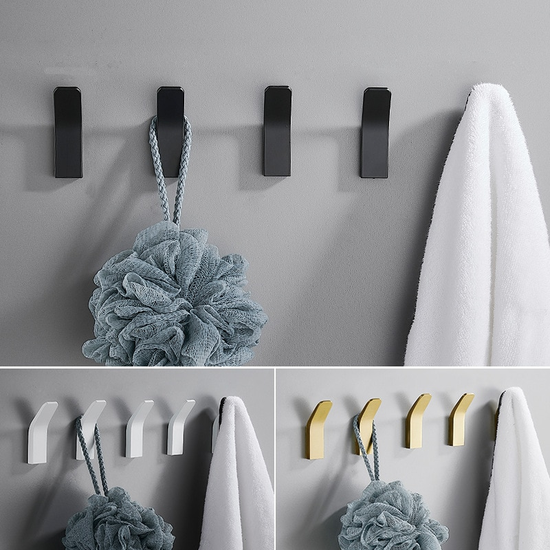 Black White Coat Hook Space Aluminum Clothes Hook Wall Hanger Robe Hooks  Coat Hanger Wall Hook t 5912 stylish 1 4 lcd hook wall telephone w caller id display silver black white