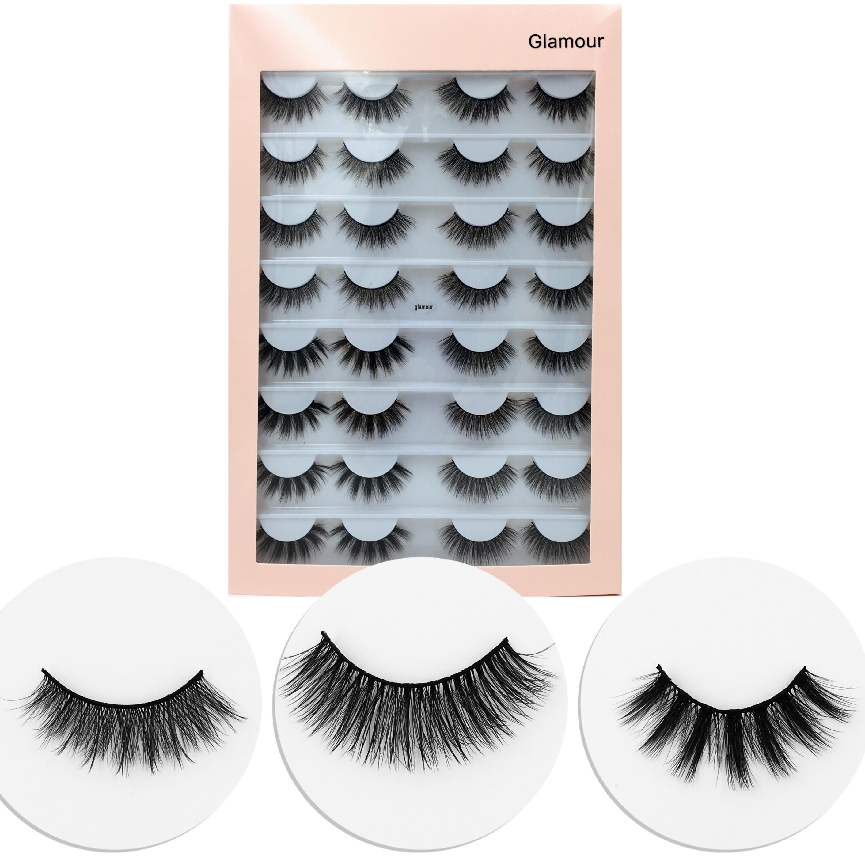 Nuevos 16 pares 3D pelo de visón suave natural pestañas postizas hechas a mano esponjosas pestañas largas naturales maquillaje de ojos herramientas ojo las pestañas