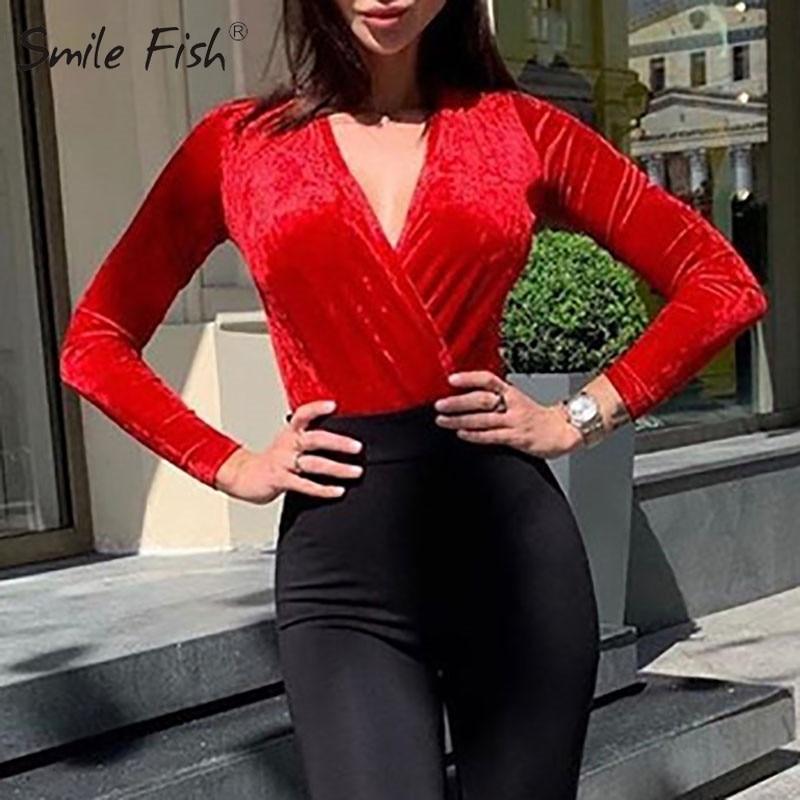 Bodycon de terciopelo profundo escote en V Bodysuit mujeres sólido rojo Sexy Envolver el cuerpo Top Jumpsuit 2020 de manga larga enterizo Delgado
