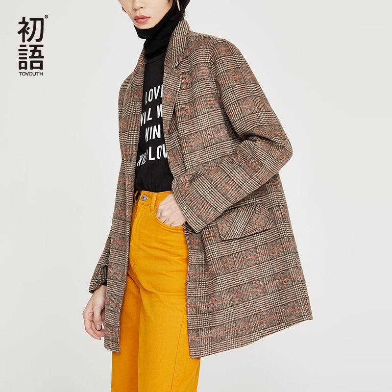 Toyouth Women Autumn Long Sleeve Plaid  Woolen Coat  Turn-Down Collar Single Button Outerwear Wool Coat