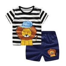 Unni-Yun Casual Baby Kids Sport Kleding Plaid Leeuw Kleding Sets Voor Jongens Kostuums 100% Katoenen Baby Kleding 6M -4 Jaar Oud