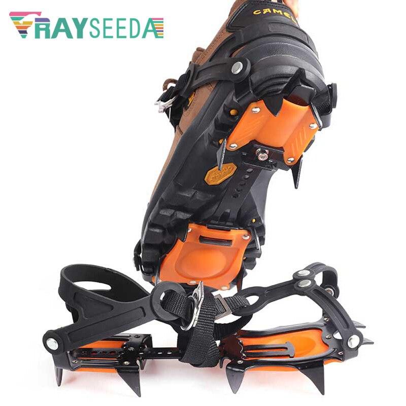 أحذية تسلق الجليد غير القابلة للانزلاق ، مع 10 أسنان فولاذية ، أحذية خارجية غير قابلة للانزلاق ، أغطية أحذية مخالب
