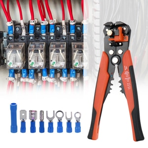 Electrical Wire Terminal Kit with 400pcs Connectors and  5-in-1 Automatic Wire Stripper Crimper Mixed Butt Connector Set
