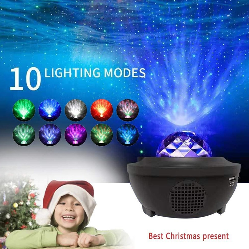 USB Night Projector Ocean Wave Projector Music Starry Sky Projector Kids Room Decoration Night Lamp Bluetooth Sound-Activated enlarge