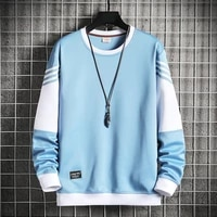 men patchwork casual sweatshirts long sleeve crewneck harajuku streetwear male pullover sweatshirt hip hop tops