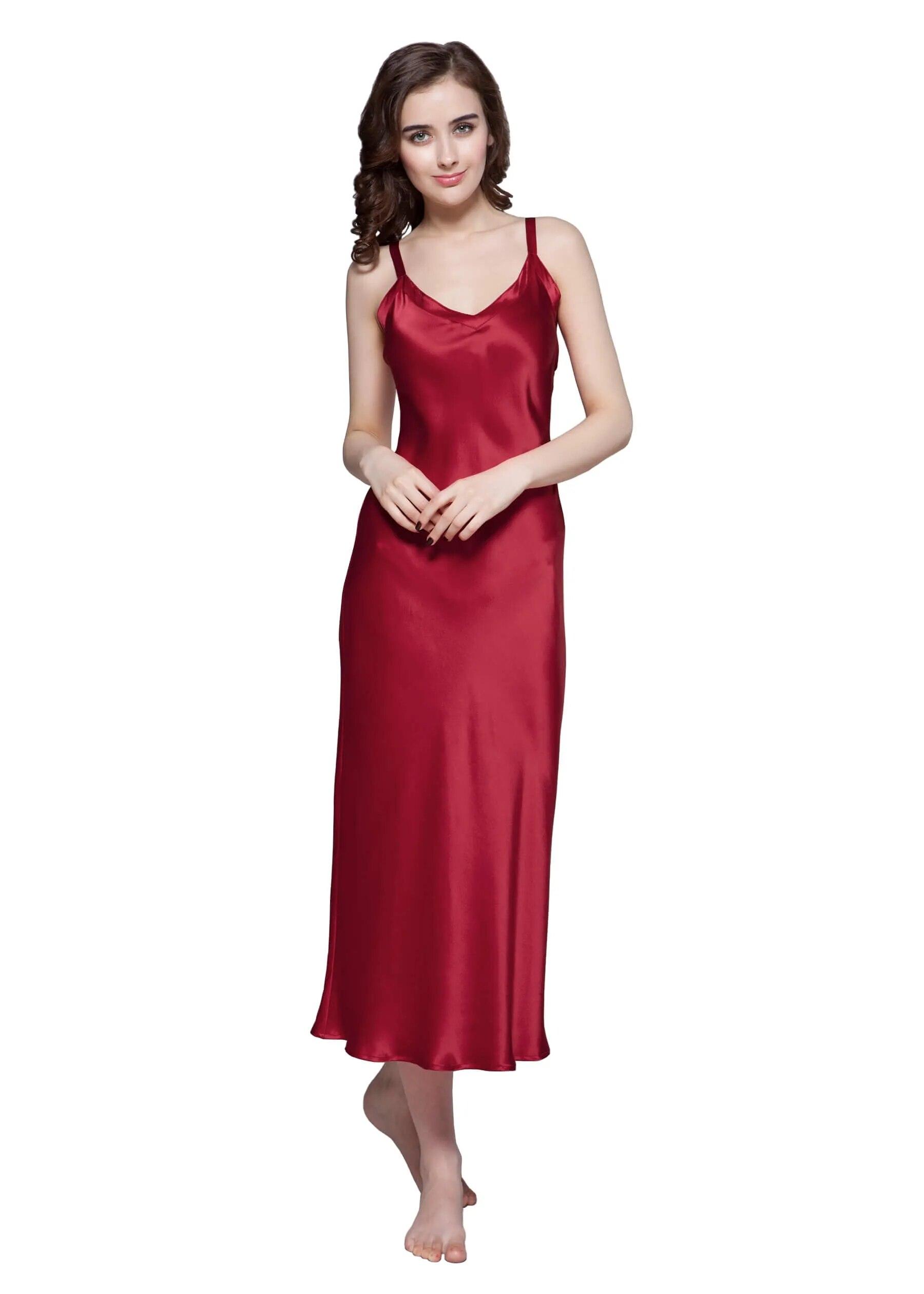 Luxury Natural Silk 19 Momme Long & Close Fitting Silk Ladies Nightgown  Women Night Sexy Dress Sleepwear Bathrobe