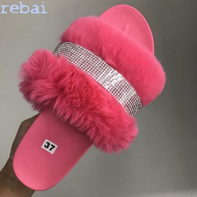 Luxury Designer Women Fur Rhinestone Slippers Platform Wedges Heel Solid Fluffy Furry Slides Outside Sexy Shoes Ladies
