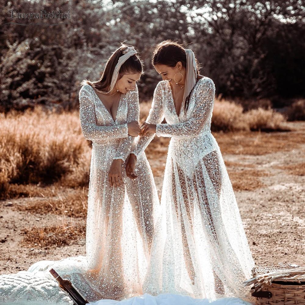 رائع الخرز فساتين الزفاف كم طويل انظر من خلال الخامس الرقبة عارية الذراعين زي العرائس خط فيستدو دي نويفاس DW491