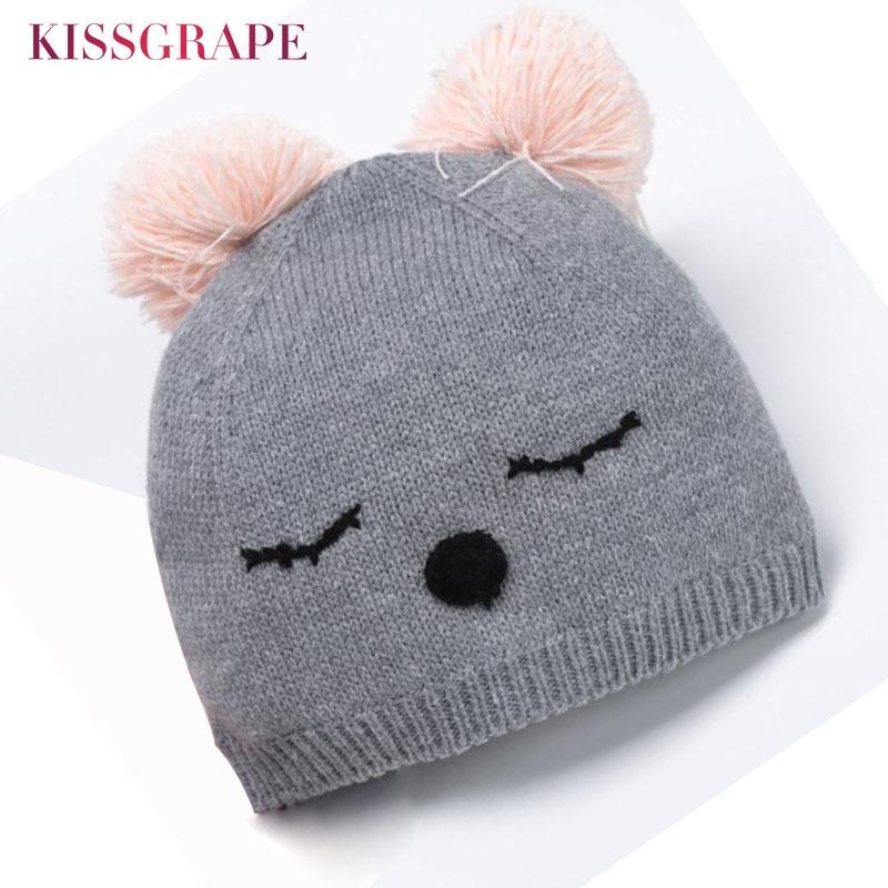 Baby Girls Warm Knitted Caps Hats Winter 2019 Autum Kids Girl Cotton Knit Grey Beanies with Pom pom Newborn Baby Warm Hats 0-4 Y
