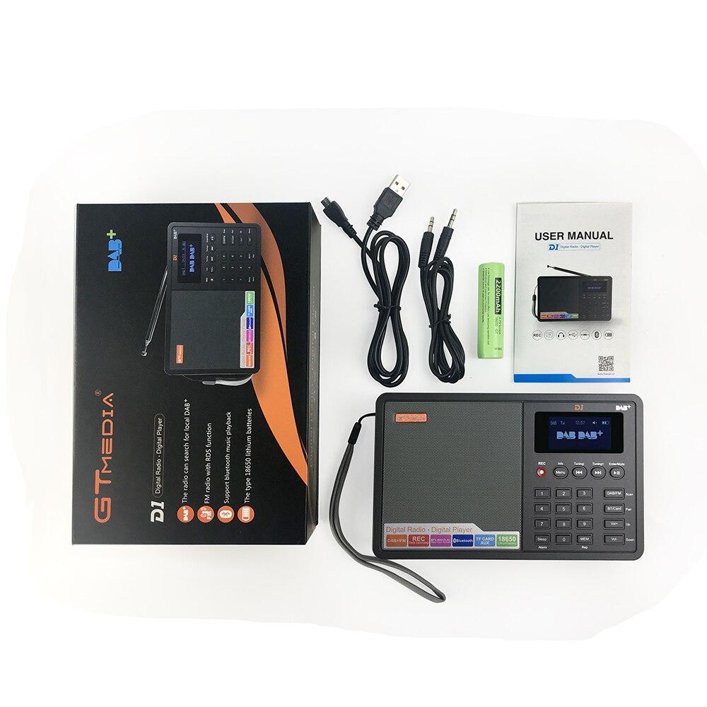 GTMEDIA D1 Portable Digital Radio FM DAB+/FM/BT/Card/AUX Multi Band Radio Speaker with LCD Display Alarm Clock Radio enlarge