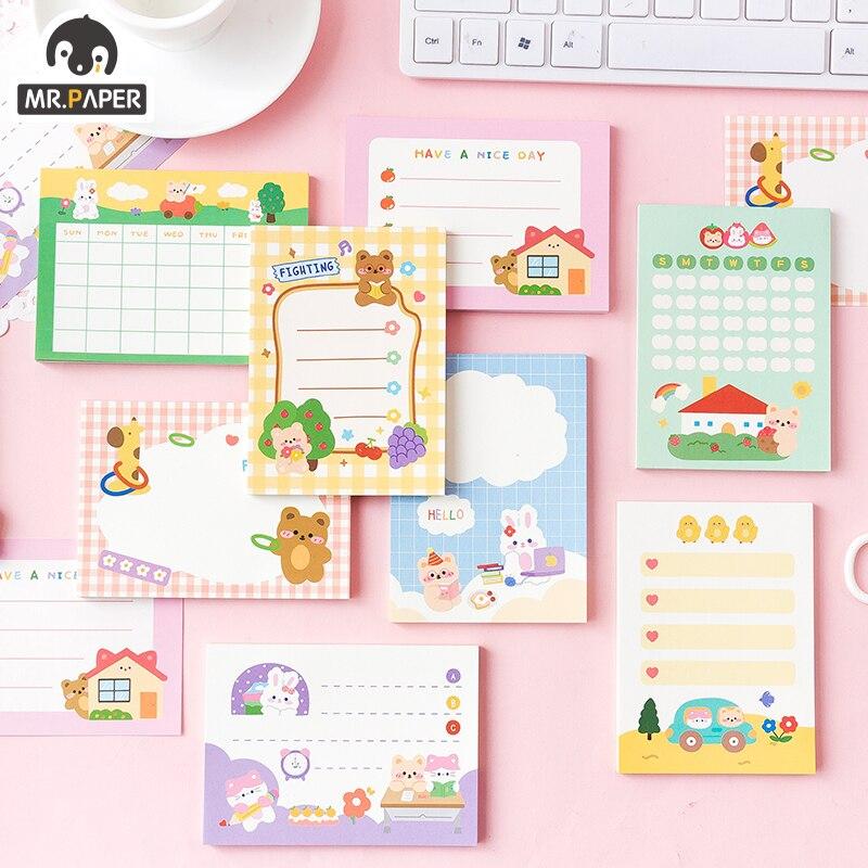 Mr Paper 8 Designs 50 Pcs/book Cartoon Style Cute Business Series Memo Pads Creative Hand Account DIY Decor Material Loose Leaf