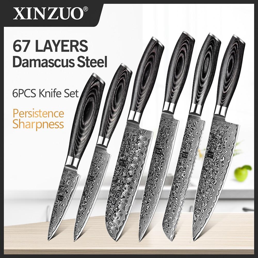XINZUO 6 قطعة سكاكين مطبخ مجموعة عالية الكربون اليابانية VG10 دمشق الصلب الشيف Santoku الخبز سكّين متعدّد الاستخدامات paرقبة مقبض خشب