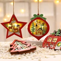 christmas decorations christmas tree pendant wooden color luminous night light christmas tree decorations holiday light for home