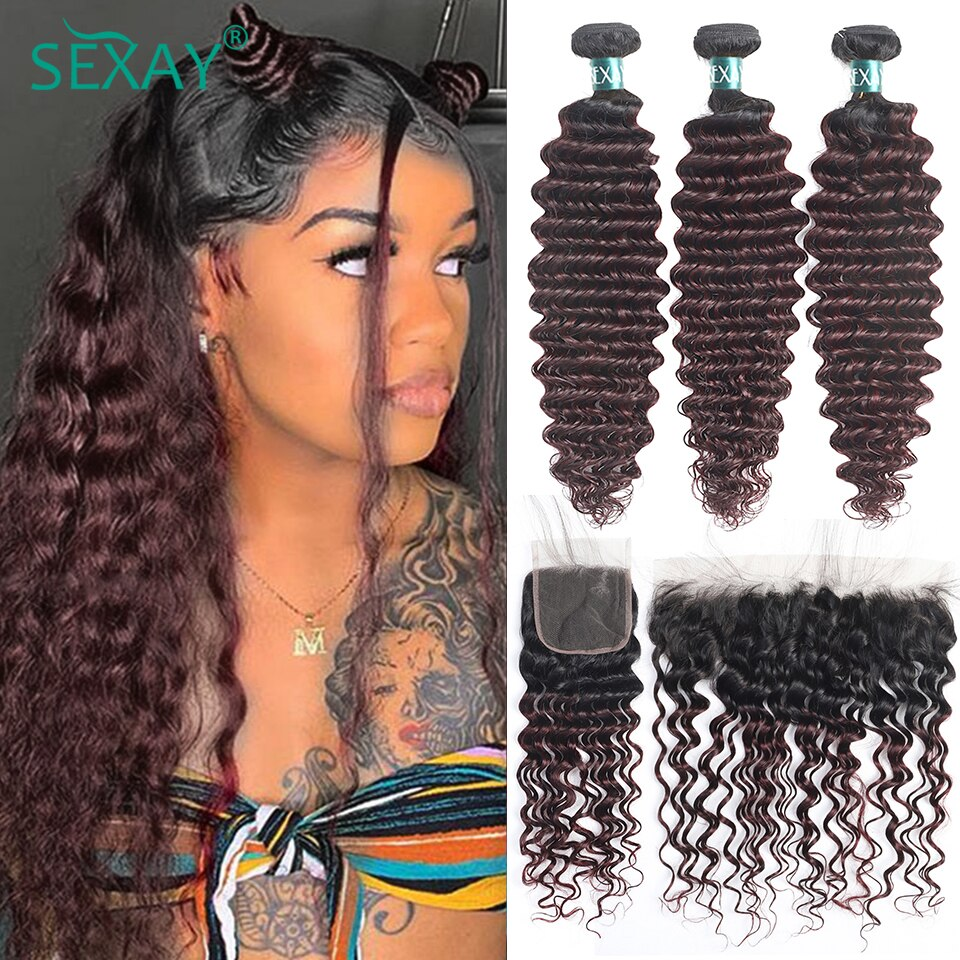 Sexay 99J Bundles Deep Wave And Closure 10A Brazilian Ombre Burgundy Human Hair Deep Curly Bundles With 13x4 Swiss Lace Frontals