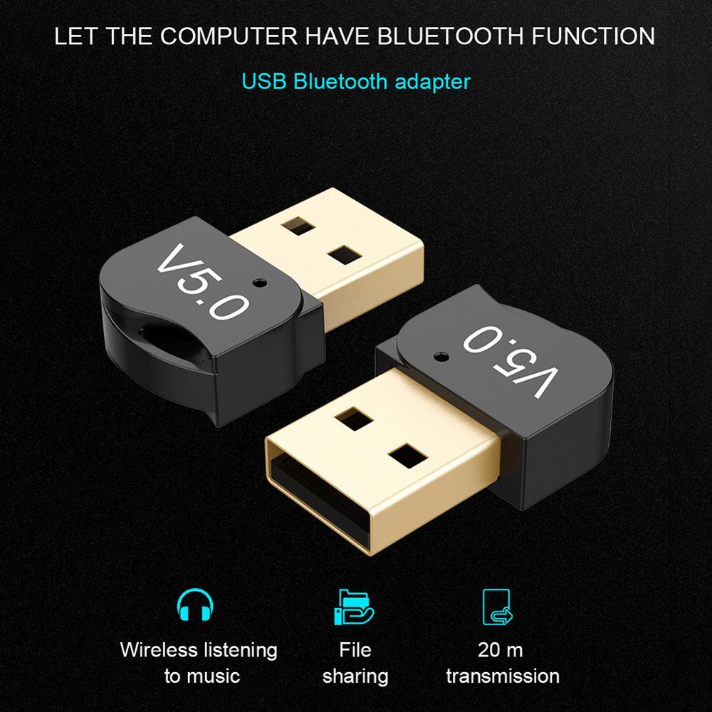 Adaptador de Audio USB Bluetooth 5,0 Dongle inalámbrico recibidor compatible con Windows 7/XP8/8,1/10 para teclado, ratón, impresora, auriculares