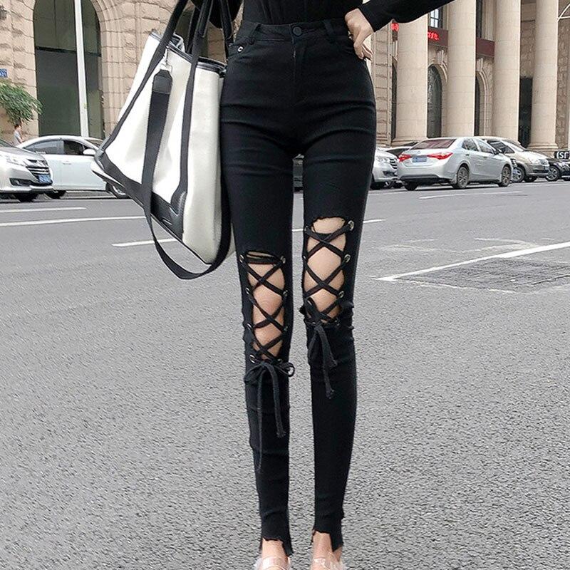 Kpop pantalones de Otoño de color rosa negro para mujer 2020 nuevo streetwear coreano de cintura alta correas roto agujero pantalones chica delgada fina nueve Pantalones