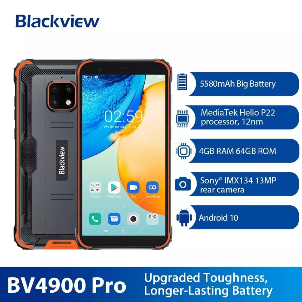 Оригинальный Blackview BV4900 Pro IP68 Водонепроницаемый смартфон 4 Гб + 64 Гб 5580 мАч Android 10 Helio P22 мобильный телефон 5,7 дюйм NFC мобильных телефонов