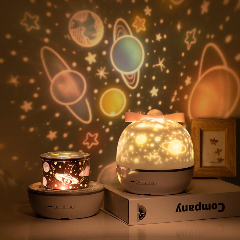 Rechargeable LED Starry Sky Projection Lamp 360 Degree Universe Rotating Music Light Colorful Flashing