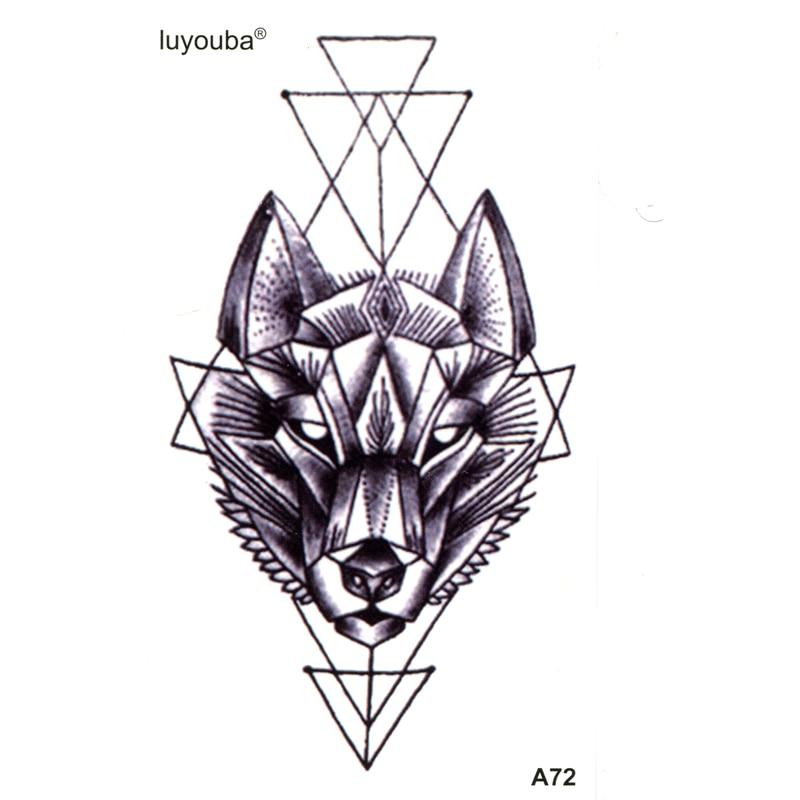 Lobo impermeable mangas de tatuaje temporal belleza Tatuagem animales Henna tatuaje Tatuajes Kit destello de tatuaje niños pegatinas