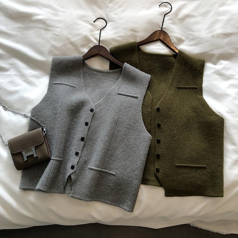 Autumn 2021 Women's Sweater Vest Knitted Korean Fashion Loose V-Neck Cardigan Basic Female Vintage C
