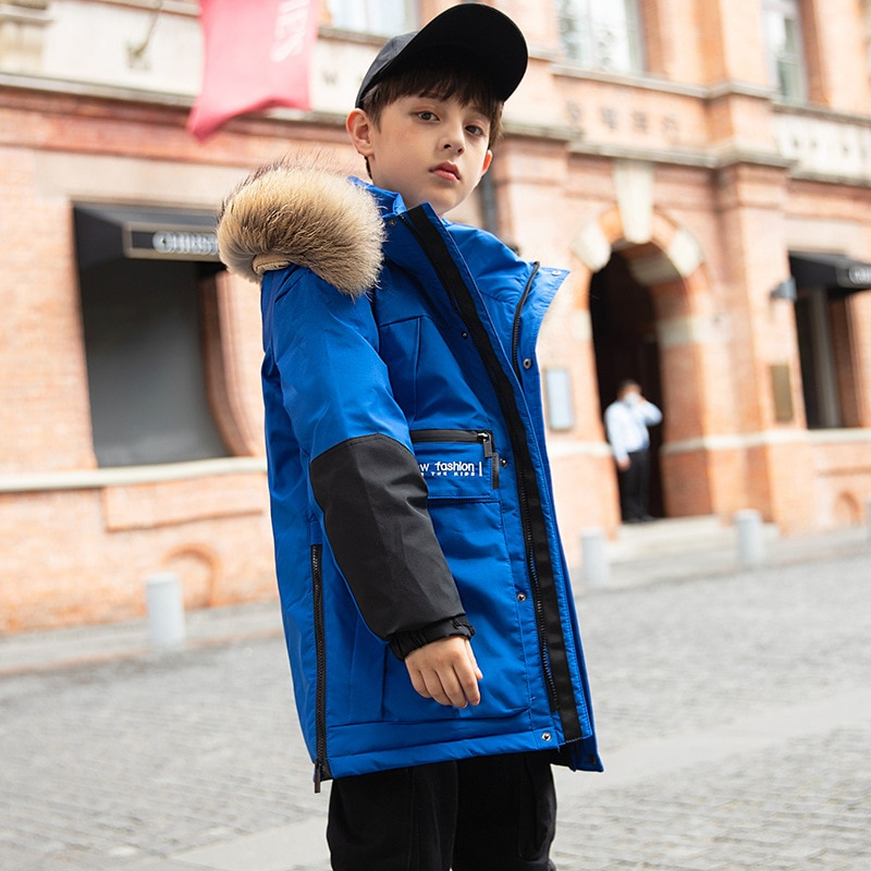 casaco longo e quente infantil com gola de pele e capuz casaco grosso para criancas
