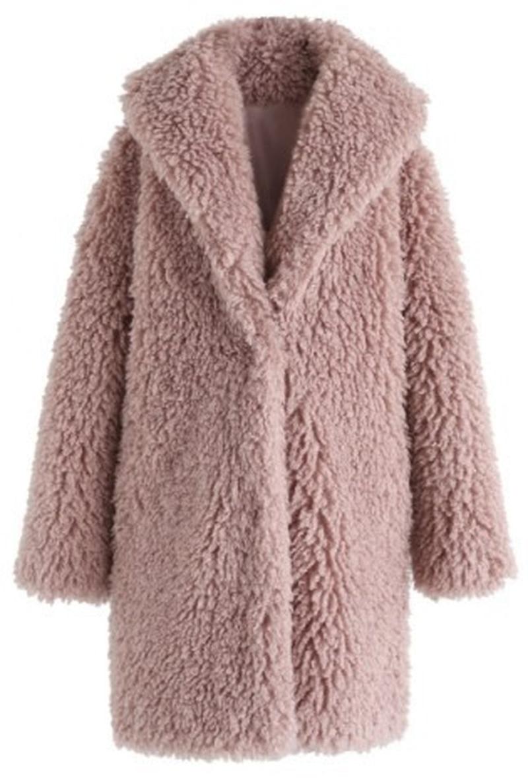 New Winter Coats Women Turn-down Collar Long Sleeve Solid Faux Wool Coat for Women Long Faux Fur Coat