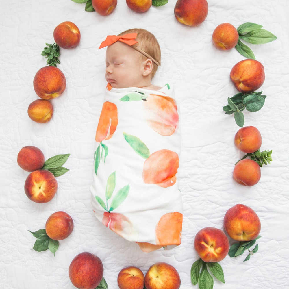 Newborn Photography Props Set Baby Unisex Floral Printing Infant Blanket Swaddle with Bunny Ears Headband for Photo Shooting