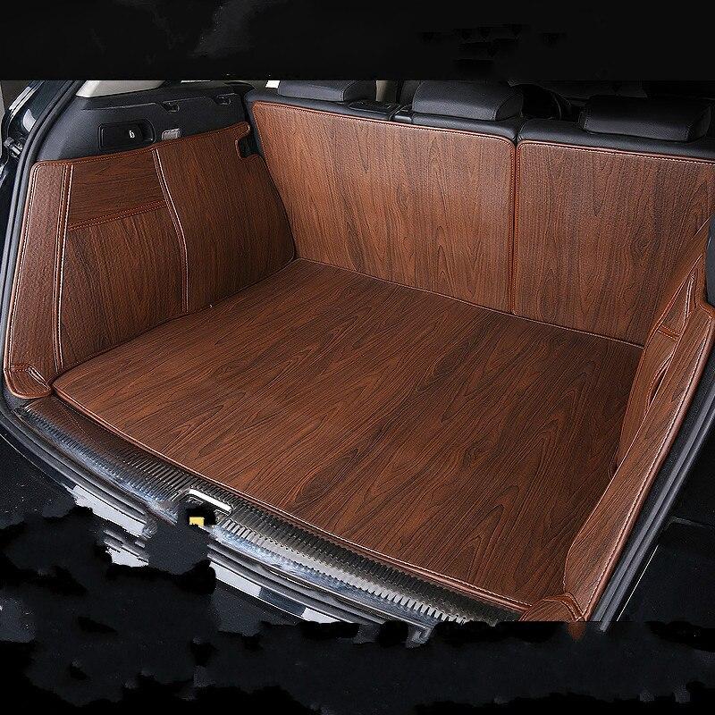 Alfombra de maletero impermeable de grano de madera de cobertura completa, esteras para maletero de coche personalizadas duraderas para Toyota 86 Fortuner Sequoia Tundra 4runner Camry