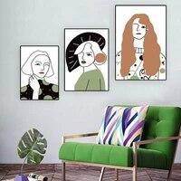 Toile de peinture a lhuile femme verte  figure nordique mode  art abstrait  salon  couloir  bureau  decoration murale de la maison