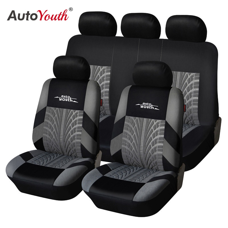 AUTOYOUTH Brand Embroidery Car Seat Covers Set Universal Fit Most Cars Covers with Tire Track Detail