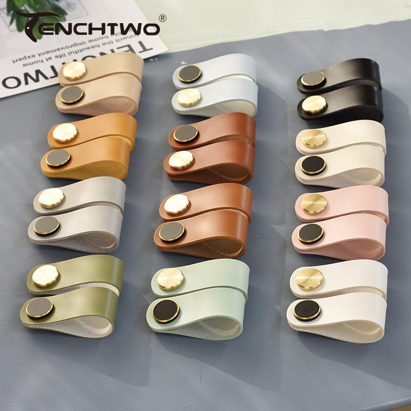 AliExpress - Nordic Modern Leather Drawer Handle Furniture Kitchen Cupboard Wardrobe Dressing Cabinet Knobs Black Brass Door Pulls 24 Colors