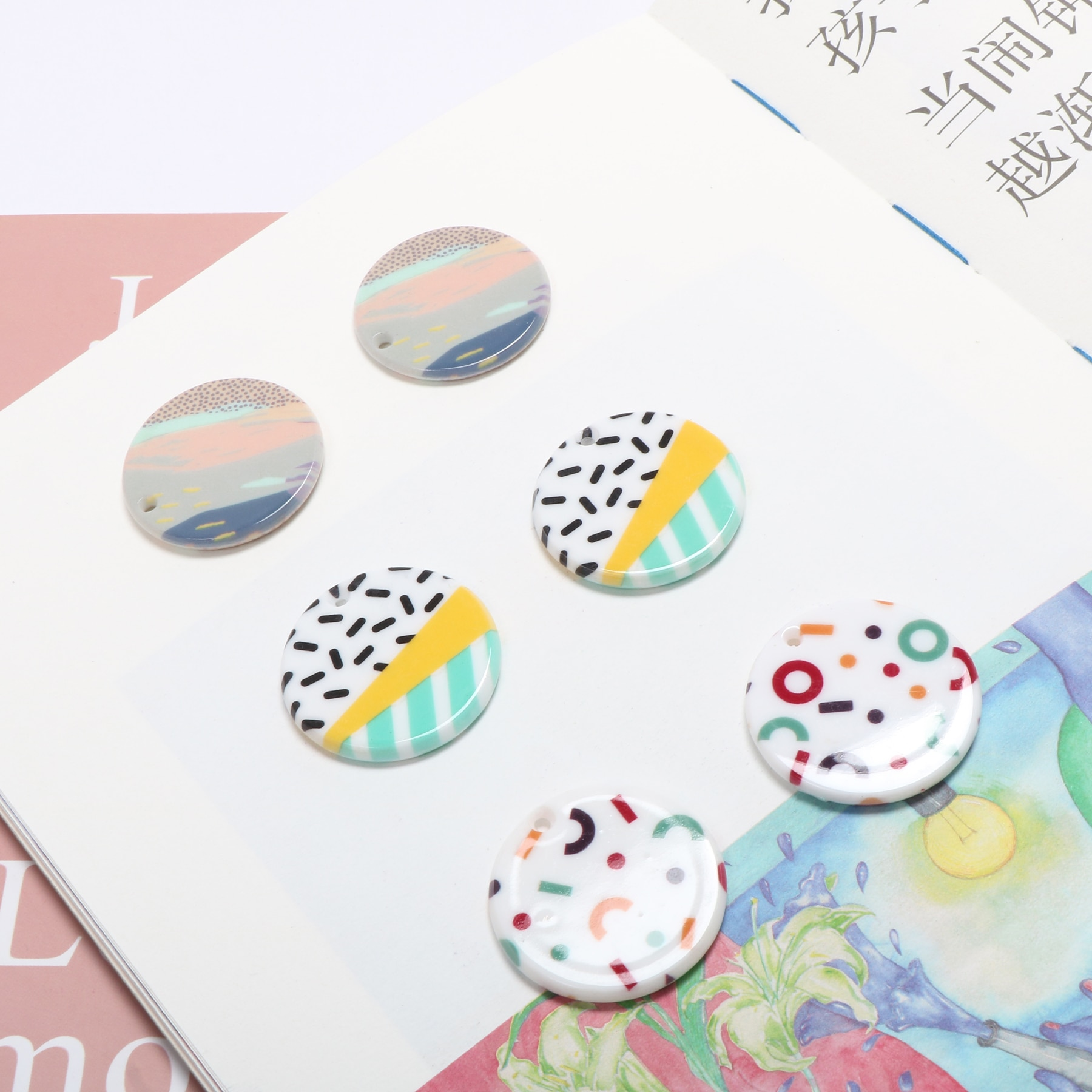 Ins geometric print hit yin child yakri round pendant earrings diy handmade jewelry accessory material