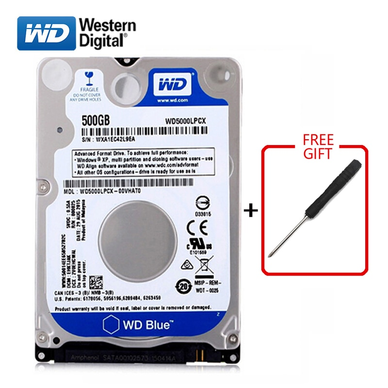 "WD marca 500Gb 2,5 ""HDD sta3 disco duro interno 500G HD Disco Duro 5400-7200RPM Disco Duro azul para ordenador portátil envío gratis"
