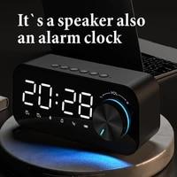 led mirror alarm clock bluetooth5 0 speaker digital display alarm clock wireless subwoofer music player desktop clock for xiaomi