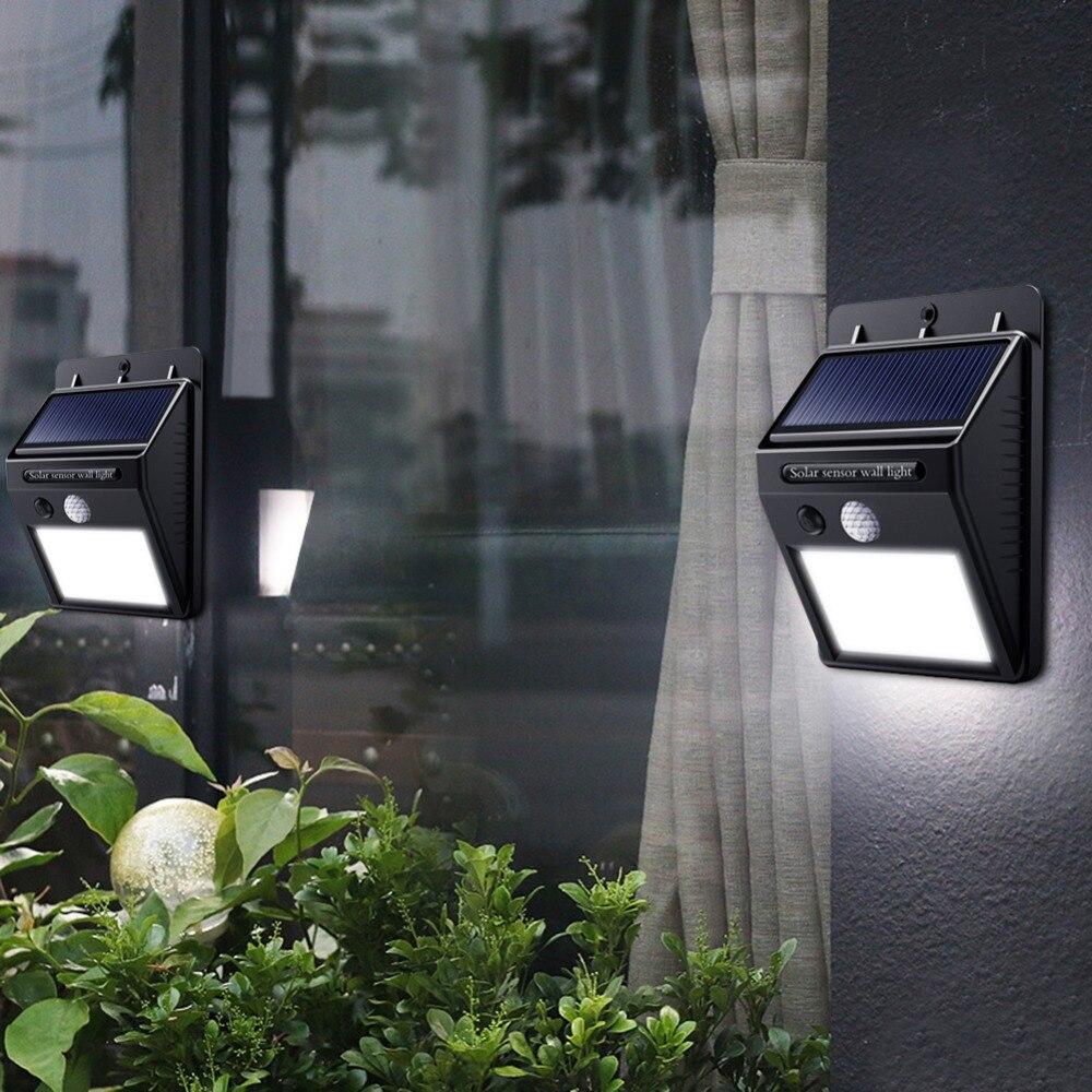 Luz de calle Solar LED para el hogar 20 35 100 Leds de luz Solar impermeable jardín PIR Sensor de movimiento de detección de lámparas de pared