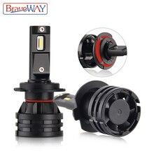 BraveWay-phares de voiture pour moto   16000LM, 6500K 12V H1 H4 H7 H11 9005 HB3 9006 HB4 en, ampoules de phares de voiture, phare de voiture, phares pour moto