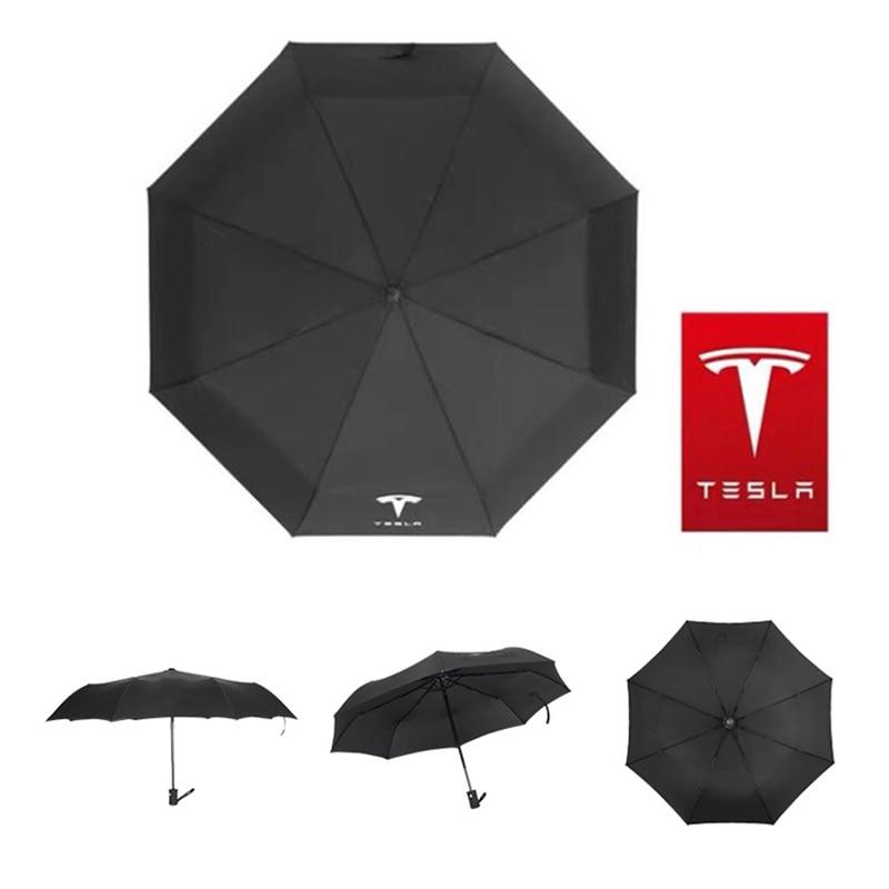 Car Automatic Folding Umbrella Rain For Tesla Model 3 Model X Model S Y Logo Windproof Parasol Man Gift Car Styling Accessories enlarge