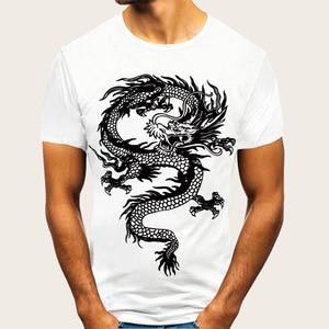 YT106 Summer Men's Clothing Round-Neck Short-Sleeved T-shirt Dragon Printing EU Size Loose Half Sleeve T Shirt Men