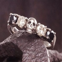 new designvintage skull ring for men women filled punk black white zircon ring skeleton rock party fashion jewelry
