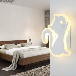 Modern Wall Light Bedroom Led Lamp indoor bedside kids room Cat Acrylic wall sconces Bedroom Living Room Lighting Fixtures