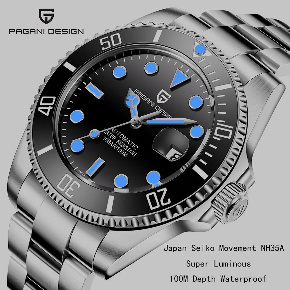PAGANI تصميم العلامة التجارية التلقائي الميكانيكية الرجال ساعة رياضية 100 متر مقاوم للماء الياقوت ساعة معصم مضيئة Relogio Masculino 2020