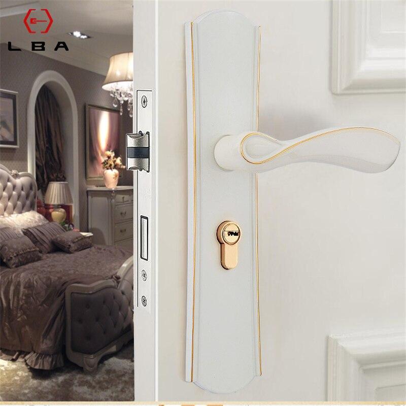 LBA الأوروبية نمط الأبيض غرفة نوم المعيشة غرفة مقبض الباب الجرار قفل الحديثة الحد الأدنى خشب متين قفل باب الصامتة قفل داخلي