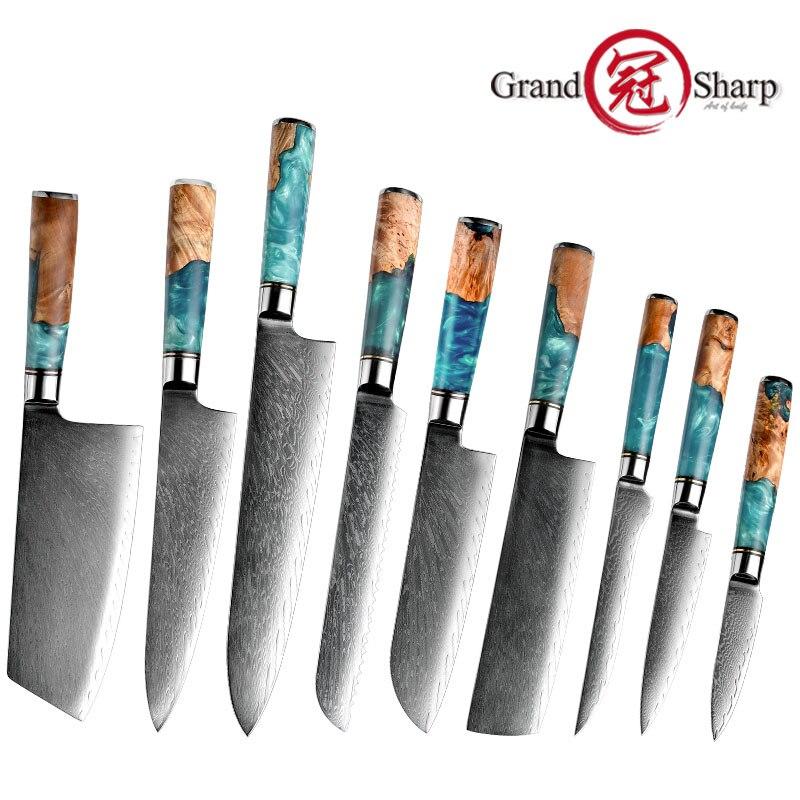 غراندشارب دمشق طقم السكاكين المطبخ vg10 اليابانية الفولاذ المقاوم للصدأ الشيف سانتوكو الساطور الخبز فائدة سكين التقشير أداة الطبخ