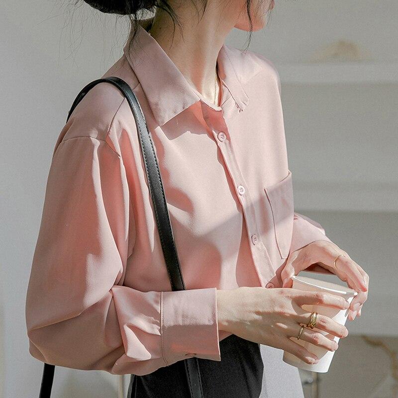 H71102ee2de18487e85ebb1d61e59982bn - Spring / Autumn Turn-Down Collar Long Sleeves Solid Pocket Blouse