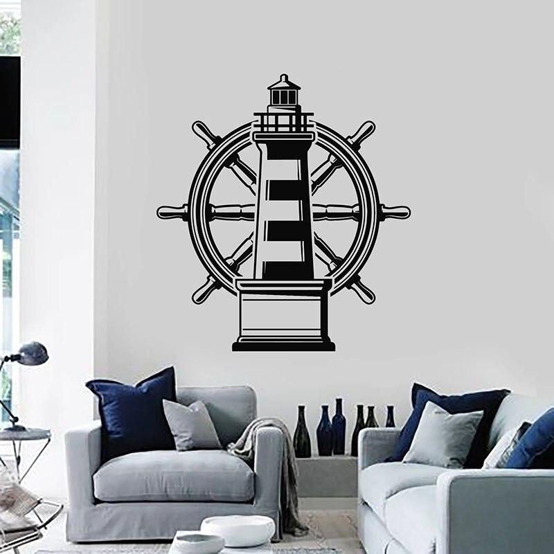 Calcomanía de pared con faro Marina náutica Playa Mar volante vinilo pegatinas ventana baño sala de estar decoración Mural E469
