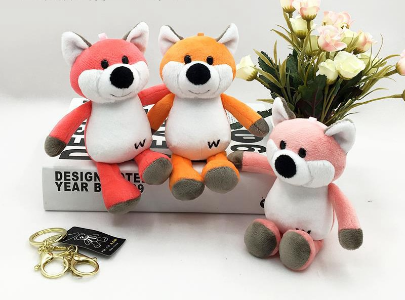 1PC 10cm lindo colorido Mini zorro de peluche suave animales de peluche Fox muñecas bolsa llavero coche colgante niñas regalos