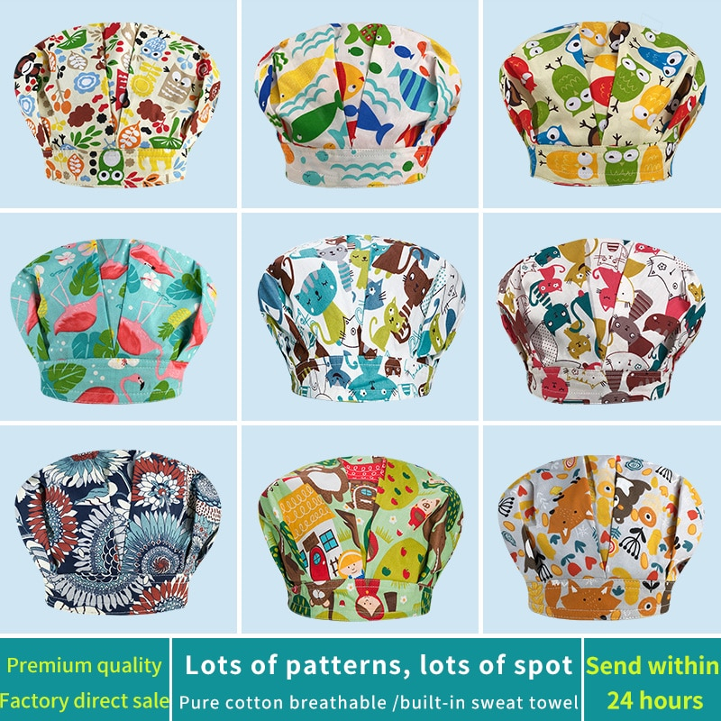Printed scrubs cap unisex Beauty salon beauty cap sweat-absorbent breathable chemotherapy caps dust