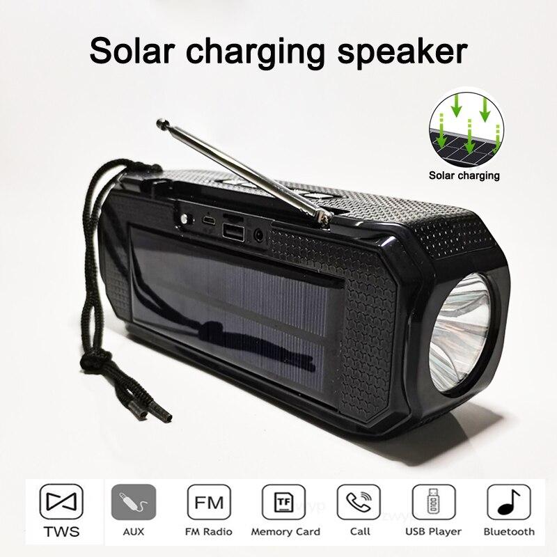 Altavoz estéreo inalámbrico con carga Solar, Subwoofer compatible con Bluetooth, para exteriores,...