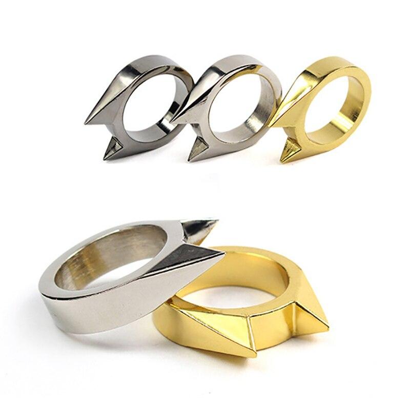 1 pçs anéis de defesa pessoal armas de auto defesa anéis para mulher socos de latão auto defesa acessórios para homem